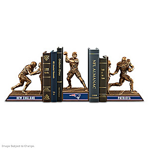 New England Patriots Sculptural Bookends In Cold-Cast Bronze