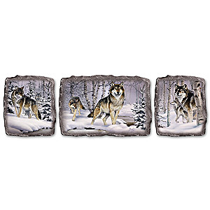 """Al Agnew """"Visions Of The Forest"""" Wolf Art Plaque Collection"""