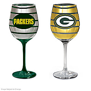 "Packers ""Dark Green And Gold"" Wine Glass Collection"