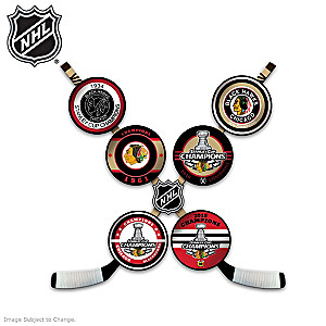 Blackhawks® Dynasty Tribute Hockey Puck Wall Décor