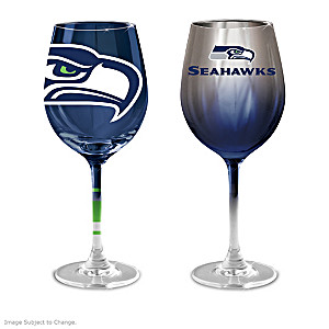 """Seahawks """"Green And Blue"""" Wine Glass Collection"""