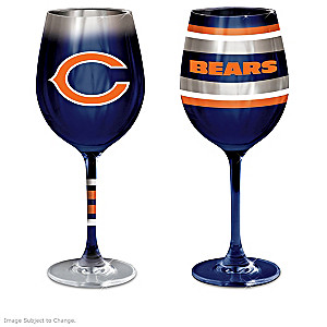 """Chicago Bears """"Blue And Orange"""" Wine Glass Collection"""