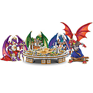 """Knights Of The Round Table"" Dragon Figurines"