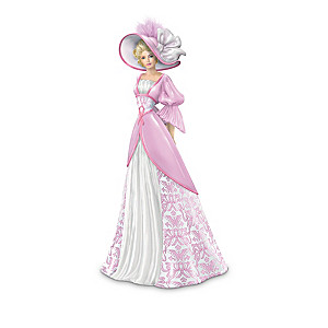 Breast Cancer Charity Figurines In Damask-Patterned Gowns