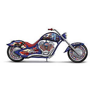 September 11th Motorcycle Figurines With Patriotic Art