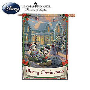 Mickey & Minnie Holiday Outdoor Flags With Kinkade Art