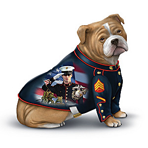 USMC Bulldog Mascot Figurines With James Griffin Marine Art