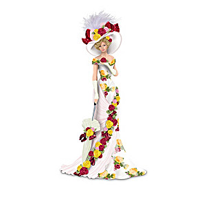 Bone China Pattern-Inspired Rose Garden Lady Figurines