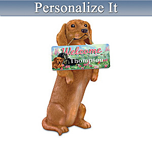 Dachshund Sculpture With Personalized Seasonal Art Plaques