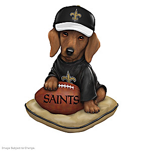 """Ruff And Tough"" New Orleans Saints Dog Figurines"