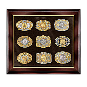 """Wild West Gold & Silver"" Belt Buckles With Belt And Display"