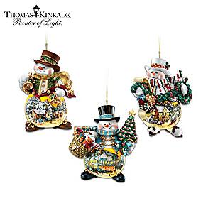 Thomas Kinkade Holiday Art Illuminated Snowman Ornaments