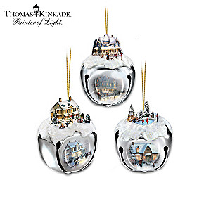 Thomas Kinkade Sleigh Bells Ornament Collection: Sets of 3