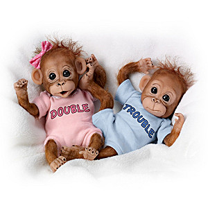 "Cindy Sales ""Twice The Fun"" Poseable Twin Monkey Doll Sets"