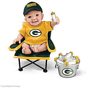 """Green Bay Packers """"Tailgatin' Tots"""" Fan Doll Collection"""