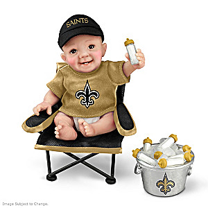 """New Orleans Saints """"Tailgatin' Tots"""" Fan Doll Collection"""