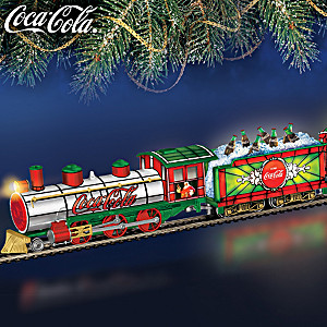 Illuminated COCA-COLA Holiday Train With Stained-Glass Look