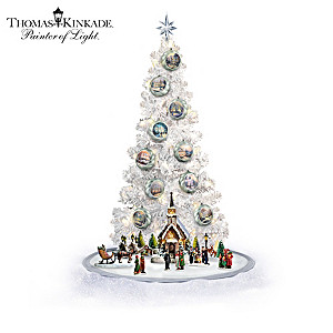 Thomas Kinkade Lighted Musical Sculptures And Christmas Tree