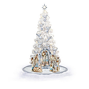 """Ebony Elegance"" Nativity And Illuminated Christmas Tree"