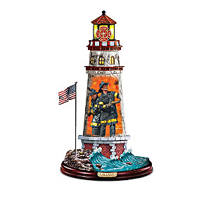 Firefighter Art Illuminated Lighthouse Sculpture Collection