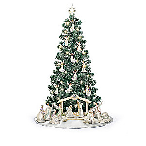 """Silver Blessings Nativity"" Pre-Lit Christmas Tree"