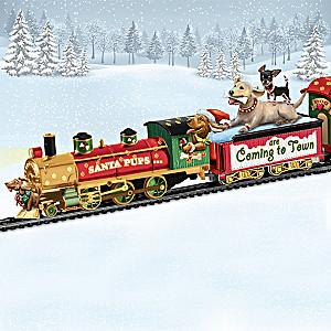 Santa Pups Bobblehead Dog Illuminated Train Collection